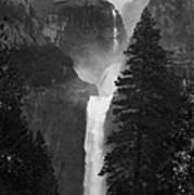 Lower Yosemite Falls Bw Art Print
