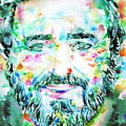 Luciano Pavarotti - Watercolor Portrait Art Print