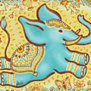 Lucky Elephant Turquoise Art Print