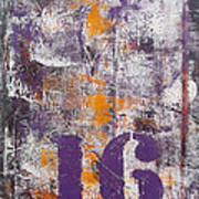 Lucky Number 16 Purple Orange Grey Abstract By Chakramoon Art Print