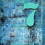 Lucky Number 7 Blue Turquoise Abstract By Chakramoon Art Print