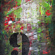 Lucky Number 9 Green Red Grey Black Abstract By Chakramoon Art Print