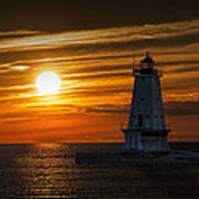 Ludington Pier Lighthead At Sunset Art Print