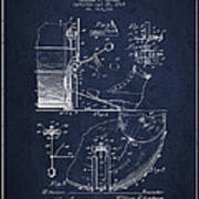 Ludwig Foot Pedal Patent Drawing From 1909 - Navy Blue Art Print