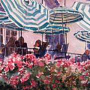 Lunch Under Umbrellas Art Print by Kris Parins