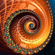 Luxe Fractal Spiral Brown And Blue Art Print