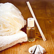Luxury Bath Or Shower Set With Towel Sponge Perfume And Shells On Wooden Table Art Print by Gino De Graaf