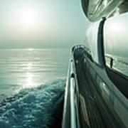 Luxury Motor Yacht Sailing At Sunset Art Print