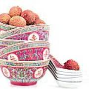 Lychees In Bowls With Spoons Art Print