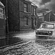 Lye Rain Storm, Morris Mini Car - 1960's    Ref-246 Art Print