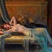 Lying Nude In A Bed Of Roses Art Print by Delphin Enjolras