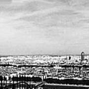 Lyon From The Basilique De Fourviere-bw Art Print