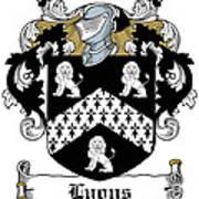 Lyons Coat Of Arms Westmeath Irish Art Print