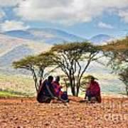Maasai Men Sitting. Savannah Landscape In Tanzania Art Print