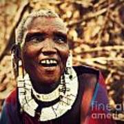 Maasai Old Woman Portrait In Tanzania Art Print