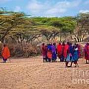 Maasai People And Their Village In Tanzania Art Print