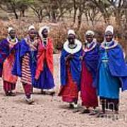 Maasai Women In Front Of Their Village In Tanzania Art Print