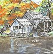 Mabry Grist Mill In Virginia Usa Art Print