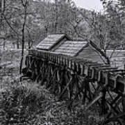 Mabry Mill Water Shute In Black And White Art Print