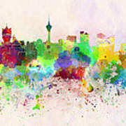 Macau Skyline In Watercolor Background Art Print