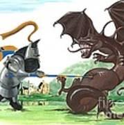 Macduff And The Dragon Art Print by Margaryta Yermolayeva