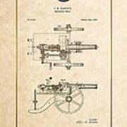 Machine Gun - Automatic Cannon By C.e. Barnes - Vintage Patent Document Art Print