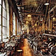 Machinist - Machine Shop Circa 1900's Art Print by Mike Savad