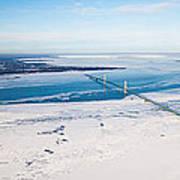 Mackinac Bridge In February Art Print