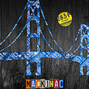 Mackinac Bridge Michigan License Plate Art Art Print