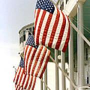 Mackinac Island Michigan - The Grand Hotel - American Flags Art Print