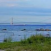 Mackinaw Bridge At Dusk Art Print