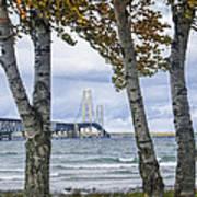 Mackinaw Bridge In Autumn By The Straits Of Mackinac Art Print