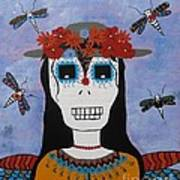 Madame Dragonfly Day Of The Dead Art Print