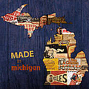 Made In Michigan Products Vintage Map On Wood Art Print