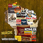Made In Wisconsin Products Vintage Map On Wood Art Print