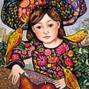Madeline with flowers and birds Art Print