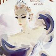 Mademoiselle Cover Featuring A Woman In A Gown Art Print by Helen Jameson Hall