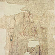 Madonna And Child Enthroned, Drawing For A Fresco Sinopia On Paper Art Print