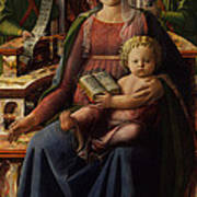 Madonna And Child Enthroned With Two Angels Art Print