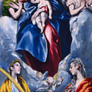 Madonna And Child With Saint Martina And Saint Agnes Art Print