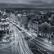 Madrid City Lights Art Print