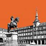 Madrid Skyline Plaza Mayor - Coral Art Print