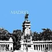 Madrid Skyline Retiro Park - Light Blue Art Print