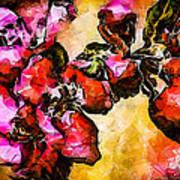 Magenta Flowers  -- Cubism Art Print