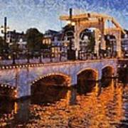 Magere Brug Bridge In Amsterdam Art Print