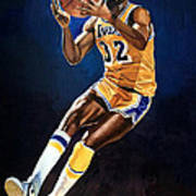 Magic Johnson - Lakers Art Print by Michael  Pattison