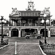 Magic Kingdom Train Station In Black And White Walt Disney World Art Print