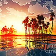 Magic Sunset In Clouds Art Print