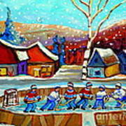 Magical Pond Hockey Memories Hockey Art Snow Falling Winter Fun Country Hockey Scenes  Spandau Art Art Print