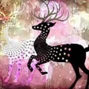 Magical Reindeers Art Print